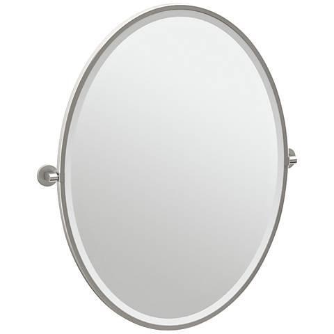 """Gatco Zone Satin Nickel 28 1/2"""" x 33"""" Oval Wall Mirror"""