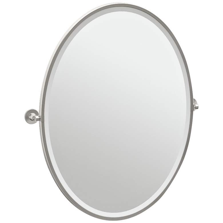 "Gatco Max Satin Nickel 28 1/2"" x 33"" Oval Wall Mirror"