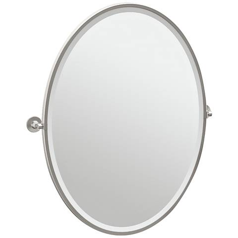 "Gatco Max Satin Nickel 28 1/2"" x 33"" Large Oval Wall Mirror"