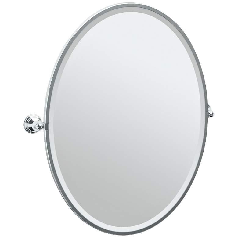 "Gatco Charlotte Chrome 29"" x 33"" Oval Wall Mirror"