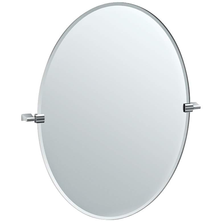 "Gatco Bleu Satin Nickel 28 1/4"" x 32"" Oval Wall Mirror"