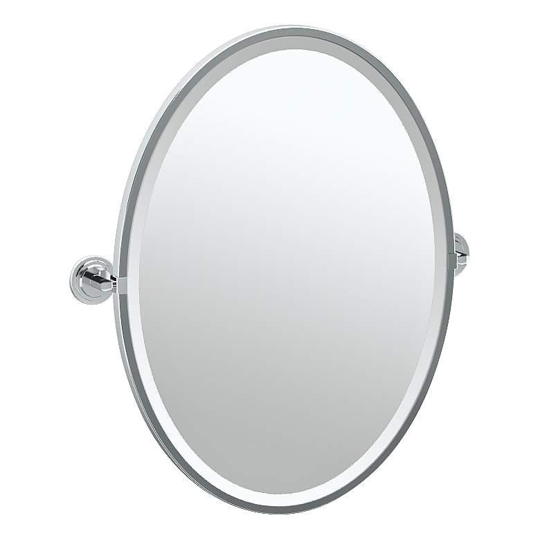 "Gatco Marina Chrome 24 1/4"" x 27 1/2"" Oval Wall Mirror"