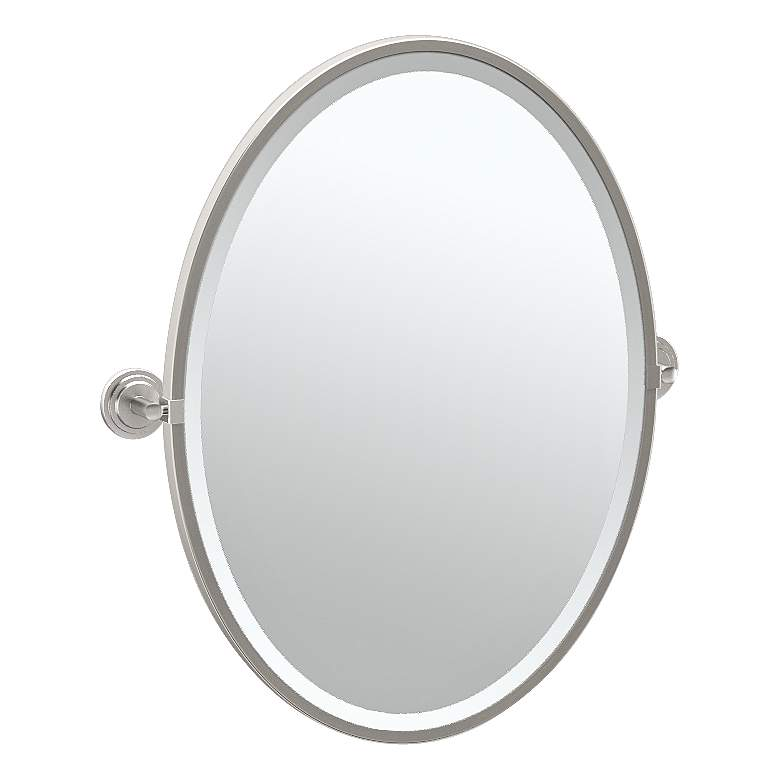"Gatco Marina Satin Nickel 24 1/4"" x 27 1/2"" Oval Wall Mirror"