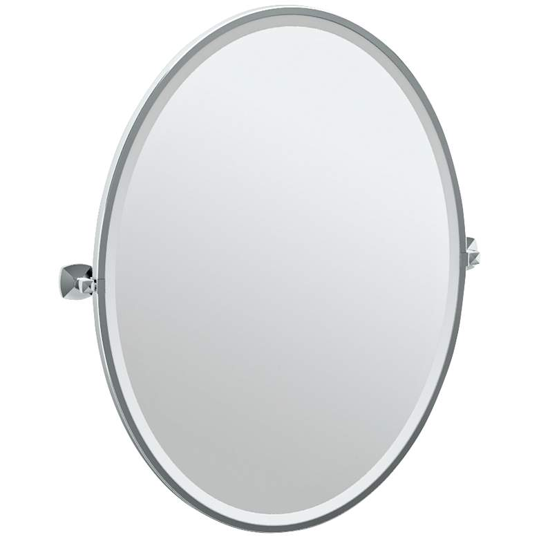"Gatco Jewel Chrome 28 1/4"" x 33"" Oval Wall Mirror"