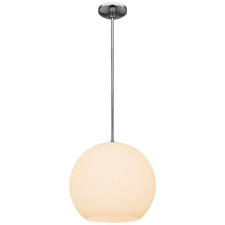 "Nitrogen 14"" Wide White Opal Glass Globe Pendant Light"