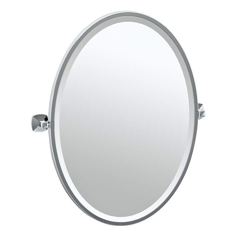 """Gatco Jewel Chrome 24 1/2"""" x 27 1/2"""" Oval Vanity Mirror"""