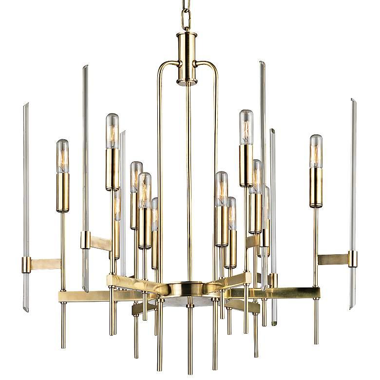 """Hudson Valley Bari 24"""" Wide Aged Brass Chandelier"""