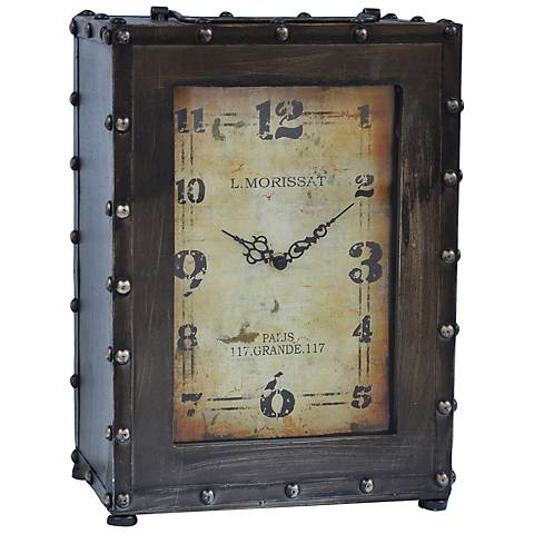 """Crestview Collection Rustic 10 1/2"""" High Metal Table Clock"""