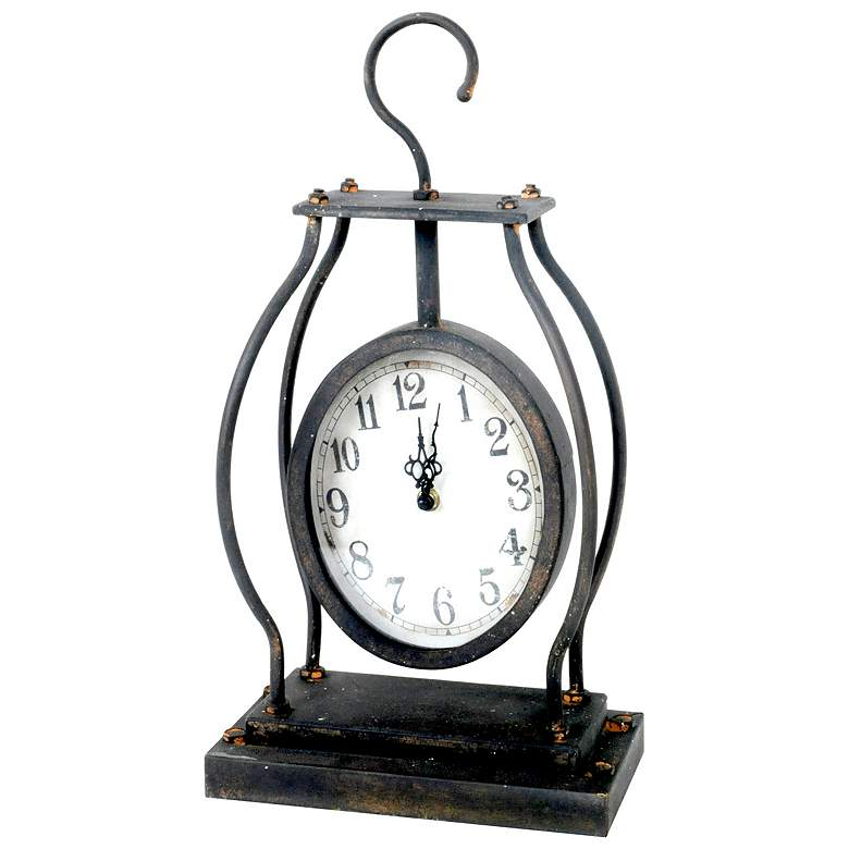 """Crestview Collection 17"""" High Metal Hook Table Clock"""
