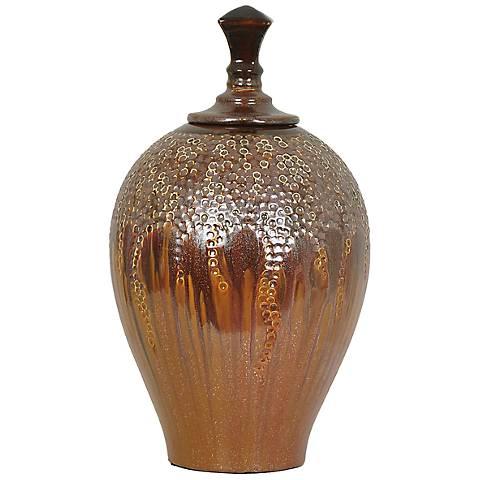 "Crestview Hera Large Lidded 15 1/2"" High Ceramic Vase"