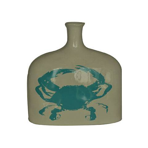 "Crestview Collection Short Crab 9"" High Ceramic Vase"
