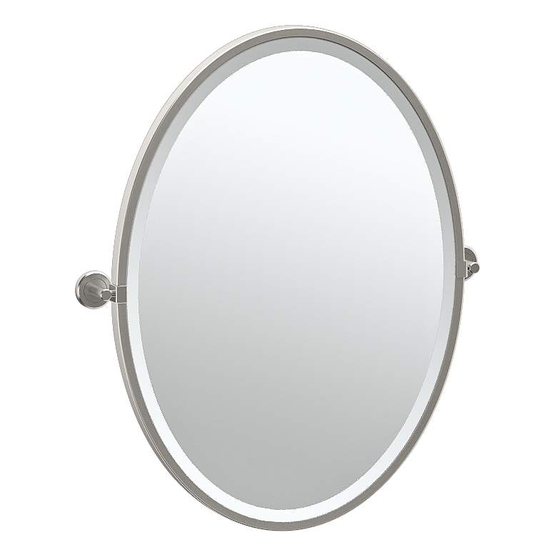 "Gatco Latitude II Satin Nickel 23 3/4"" x 27 1/2"" Wall Mirror"