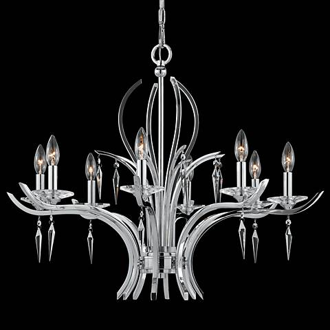 """Paris Chrome and Crystal 33"""" Wide 8-Light Chandelier"""