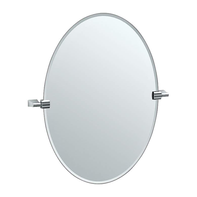 "Gatco Bleu Chrome 23 1/2"" x 26 1/2"" Oval Vanity Mirror"