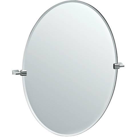 "Gatco Bleu Chrome 28 1/4"" x 32"" Large Oval Vanity Mirror"