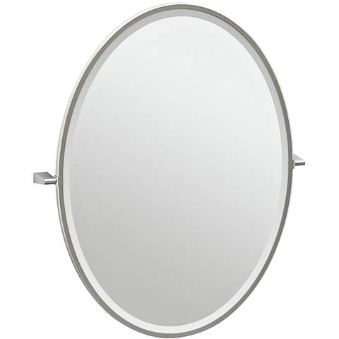 "Gatco Bleu Satin Nickel 28"" x 33"" Large Oval Vanity Mirror"
