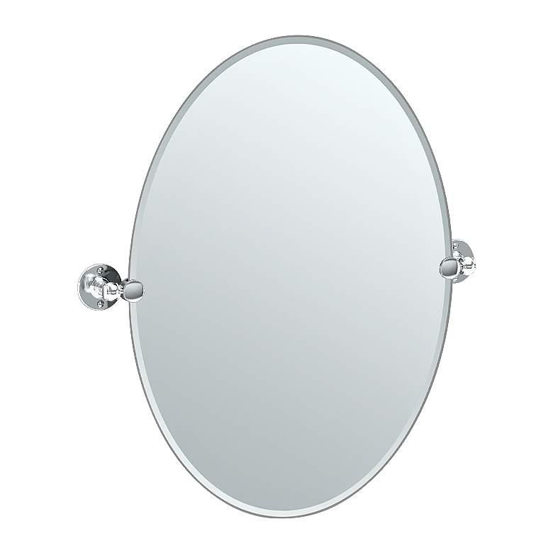 """Gatco Cafe Chrome 24"""" x 26 1/2"""" Oval Vanity Mirror"""