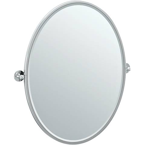 "Gatco Cafe Chrome 28 3/4"" x 33"" Framed Oval Vanity Mirror"