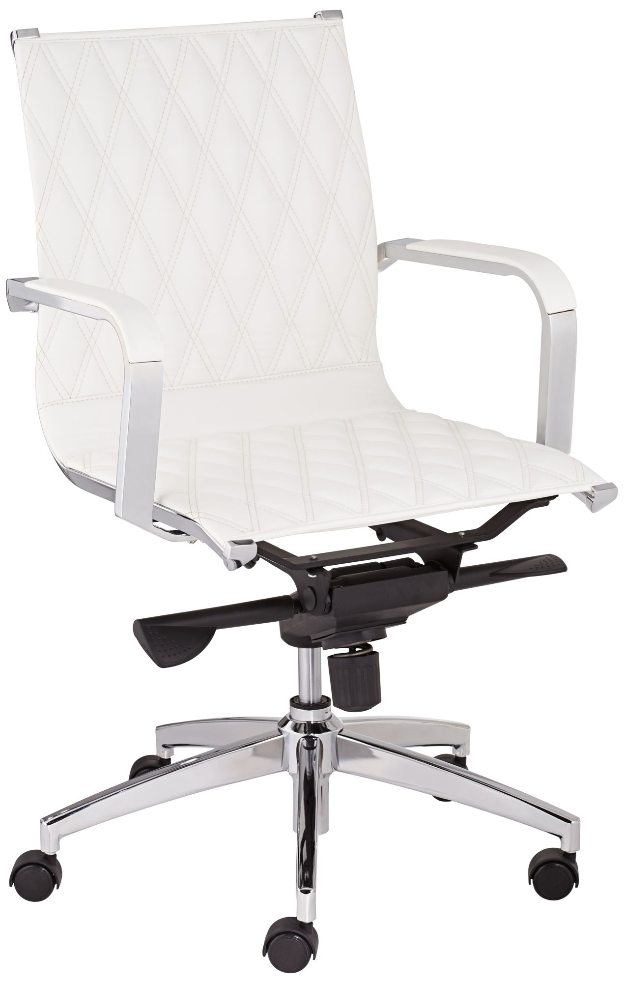 Chanelle White Faux Leather Mid Back Office Chair