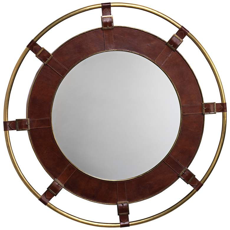 """Jamie Young Portsmouth Tobacco Leather 36"""" Round Wall Mirror"""