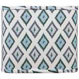 Aqua Gray Diamonte Square Lamp Shade 11x11x9.5 (Spider)