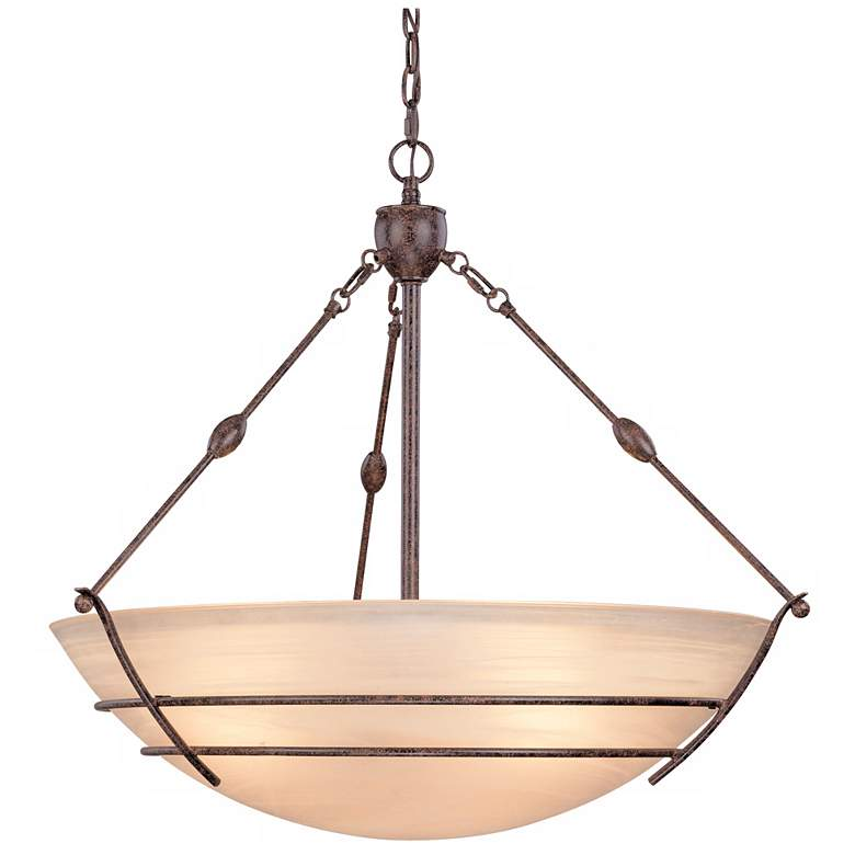 """Ziele 32 3/4""""W Bronze Frosted Champagne Glass Pendant Light"""