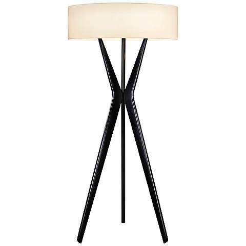 Sonneman Bel Air Satin Black Large Floor Lamp
