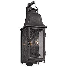 Troy outdoor lighting lamps plus larchmont 19 high aged pewter outdoor wall light workwithnaturefo