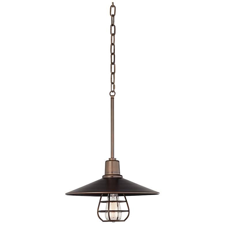 "Garryton Industrial 14"" Wide Oil-Rubbed Bronze Pendant Light"