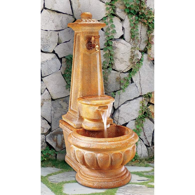 """Calais Column 43"""" High Traditional Well Garden Fountain"""