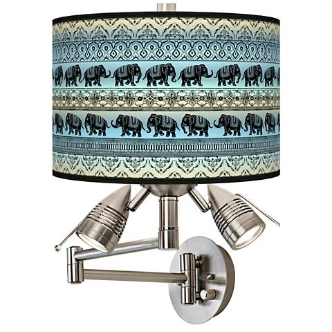 Elephant March Giclee Swing Arm Wall Lamp