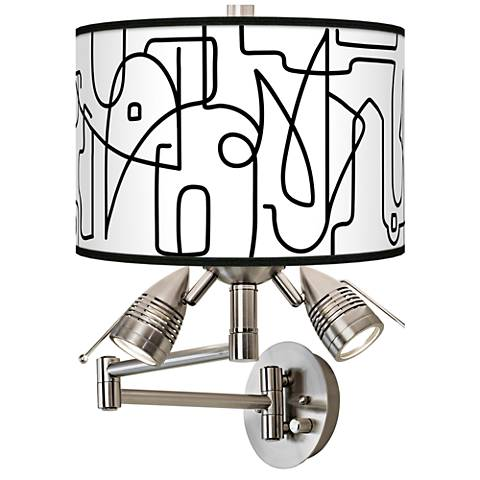 Scribble World Giclee Swing Arm Wall Lamp