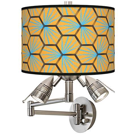 Hexagon Starburst Giclee Swing Arm Wall Lamp