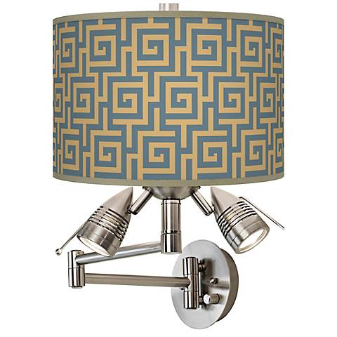 Greek Key Storm Giclee Swing Arm Wall Light
