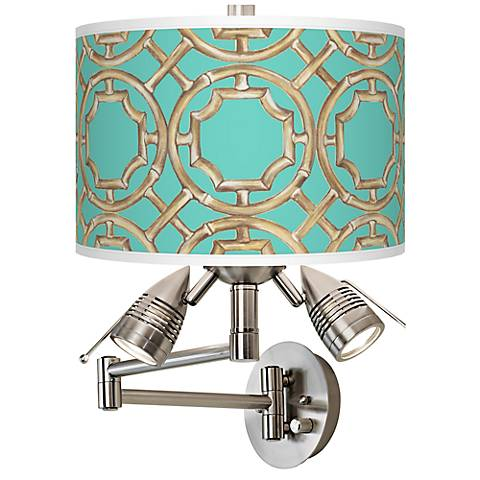 Teal Bamboo Trellis Giclee Swing Arm Wall Light