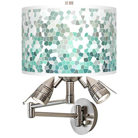 Aqua Mosaic Giclee Swing Arm Wall Light