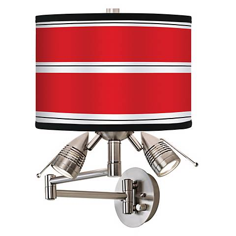 Red Stripes Giclee Swing Arm Wall Light
