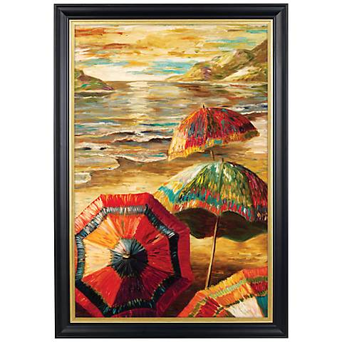 "Parasols Gold Trim Giclee 41 1/2"" High Wall Art"