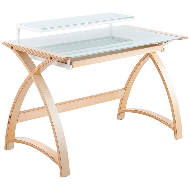 """Bentley 43"""" Wide White Glass and Natural Wood Office Desk"""