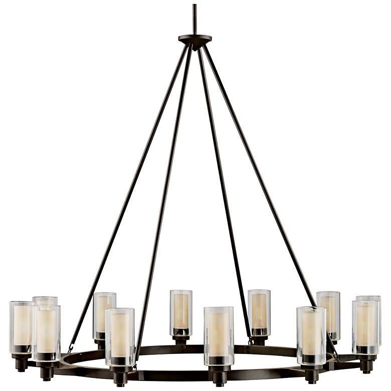 Circolo 44 1 2 Wide Olde Bronze Wagon Wheel Chandelier