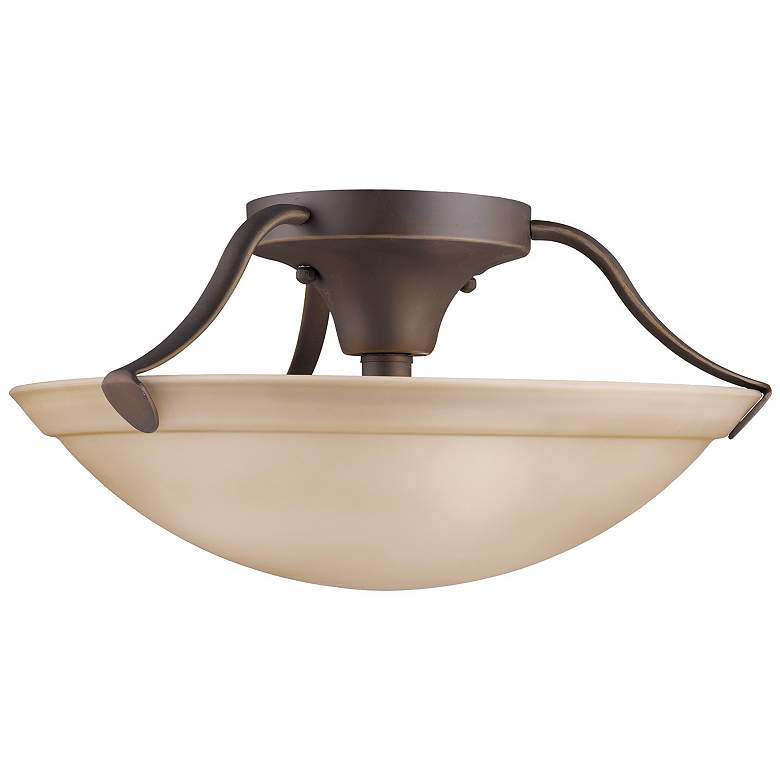 """Kichler Umber Glass and Bronze 15"""" Wide Ceiling Light"""