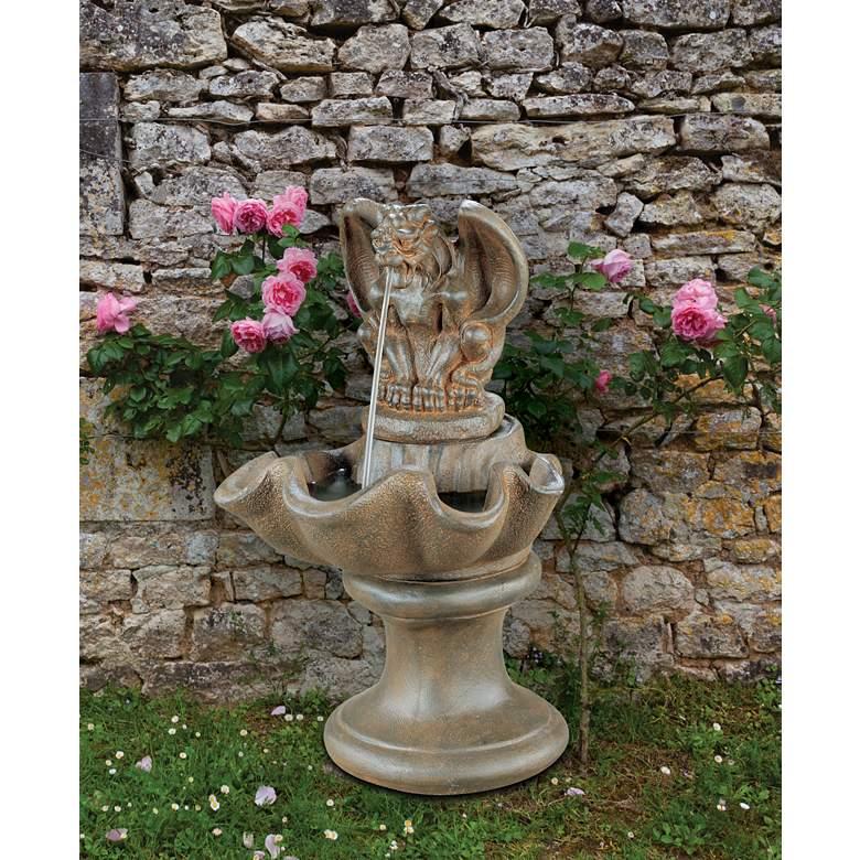 """Gargoyle 28"""" High Sepia Stone Outdoor Garden Fountain"""