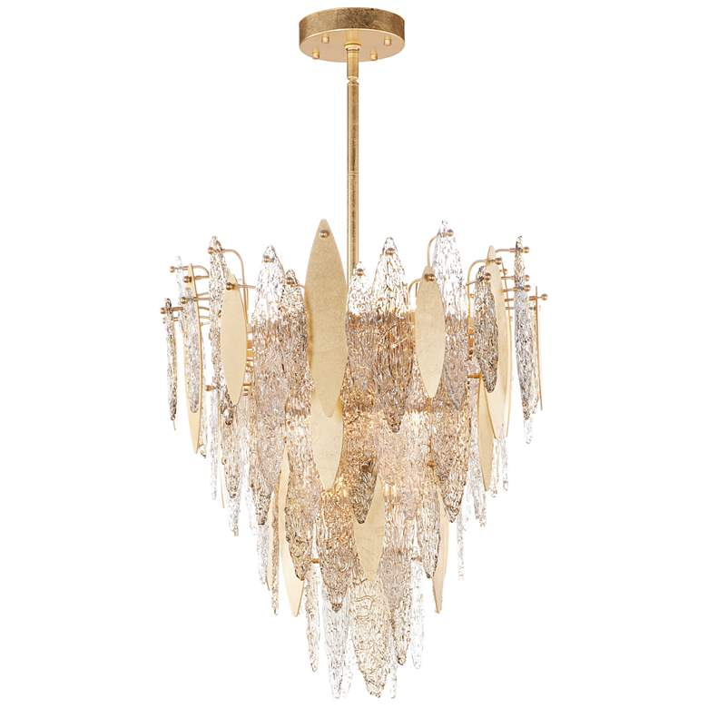 "Maxim Majestic 24"" Wide Gold Leaf Pendant Chandelier"