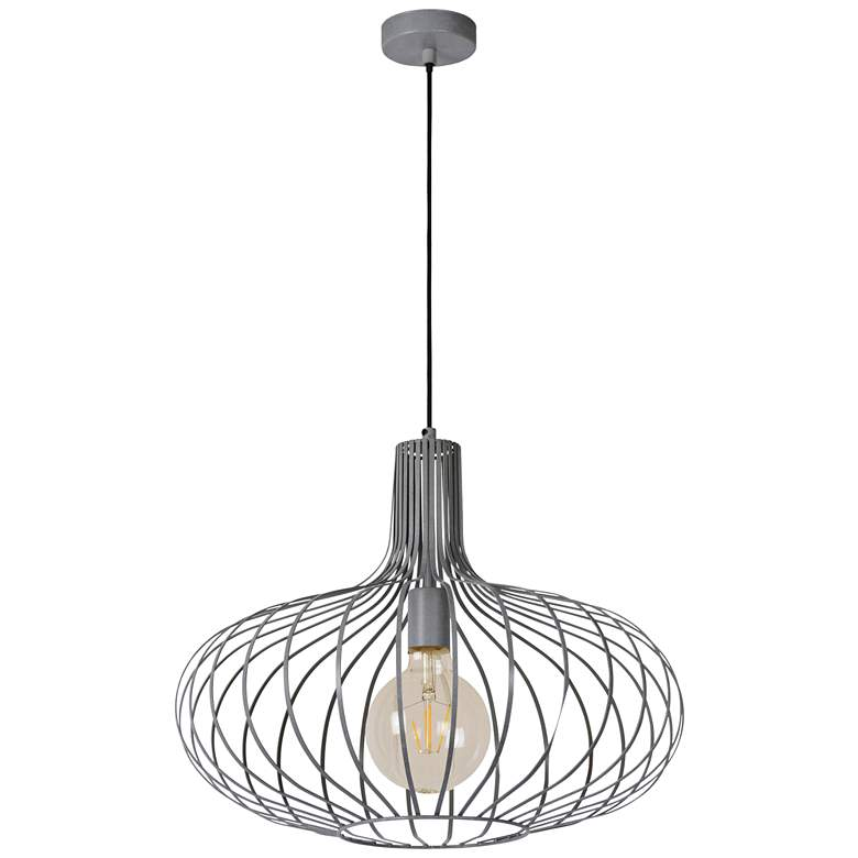 """Florabelle 19 3/4""""W Textured Gray Open Cage Pendant Light"""