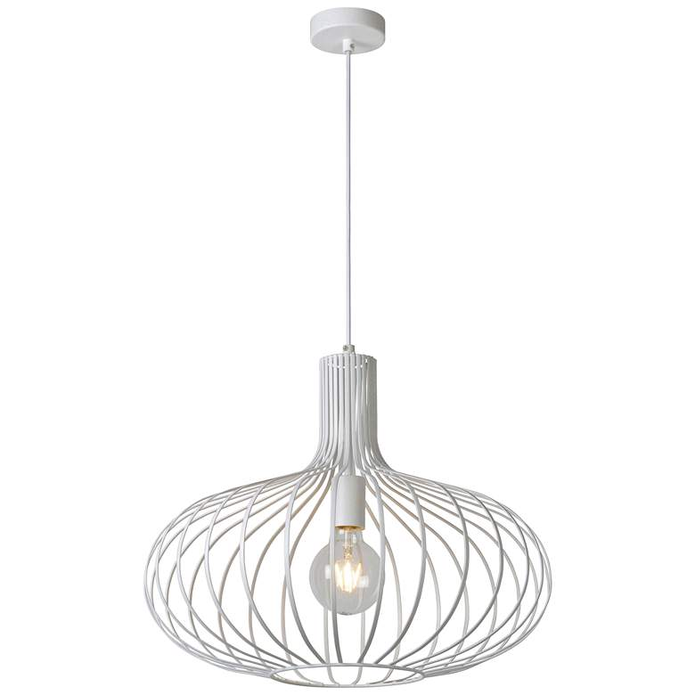 "Rosalind 19 3/4"" Wide Textured White Open Cage Pendant Light"