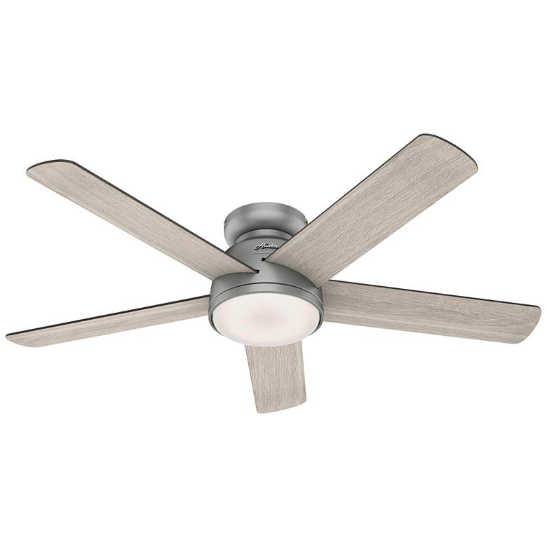 "54"" Hunter Romulus Matte Silver LED Hugger Ceiling Fan"