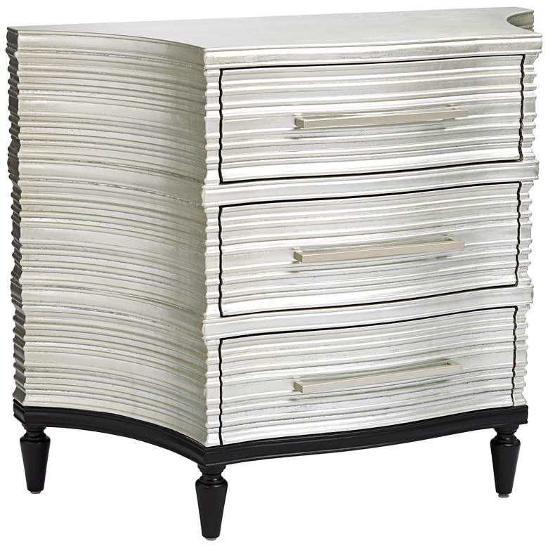 """Silver Wood 39"""" Wide Concave Side Accent Chest"""
