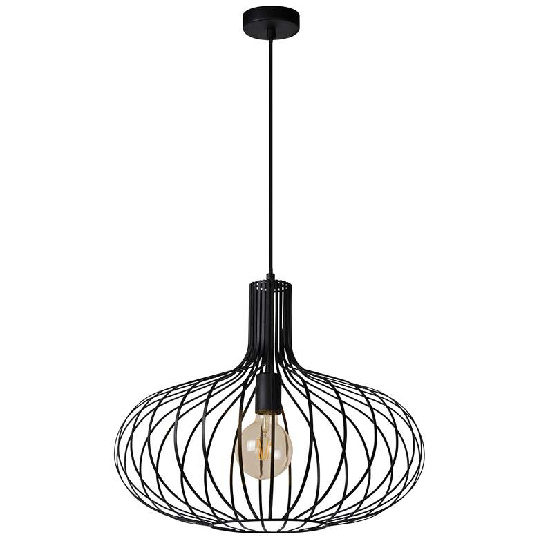 """Ione 19 3/4"""" Wide Textured Black Open Cage Pendant Light"""