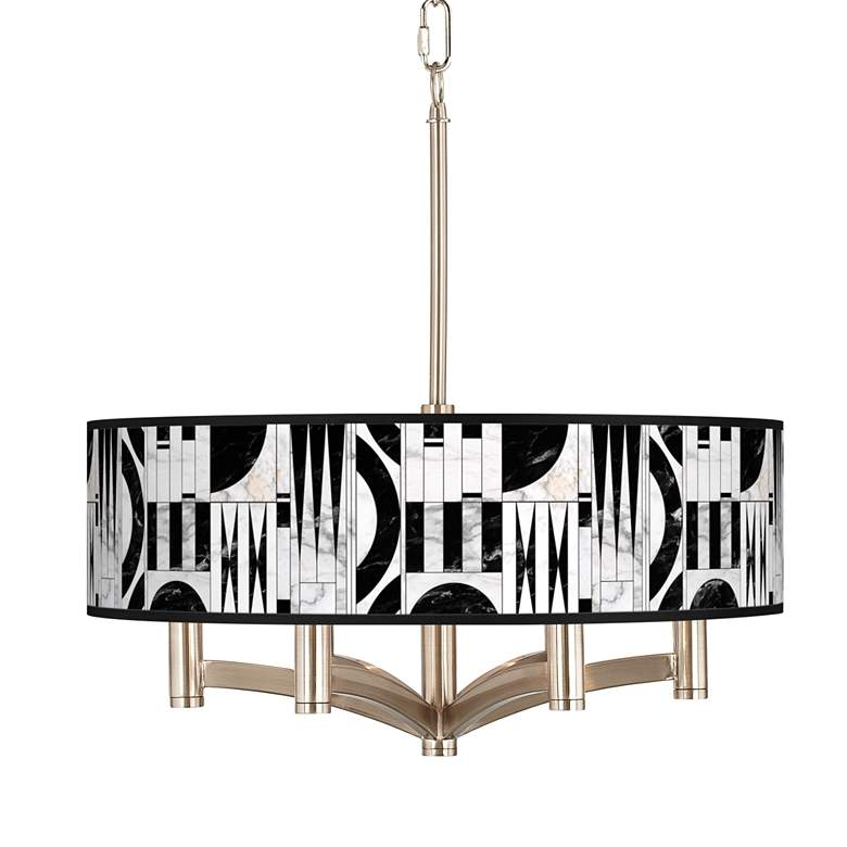 Noir Marble Ava 6-Light Nickel Pendant Chandelier