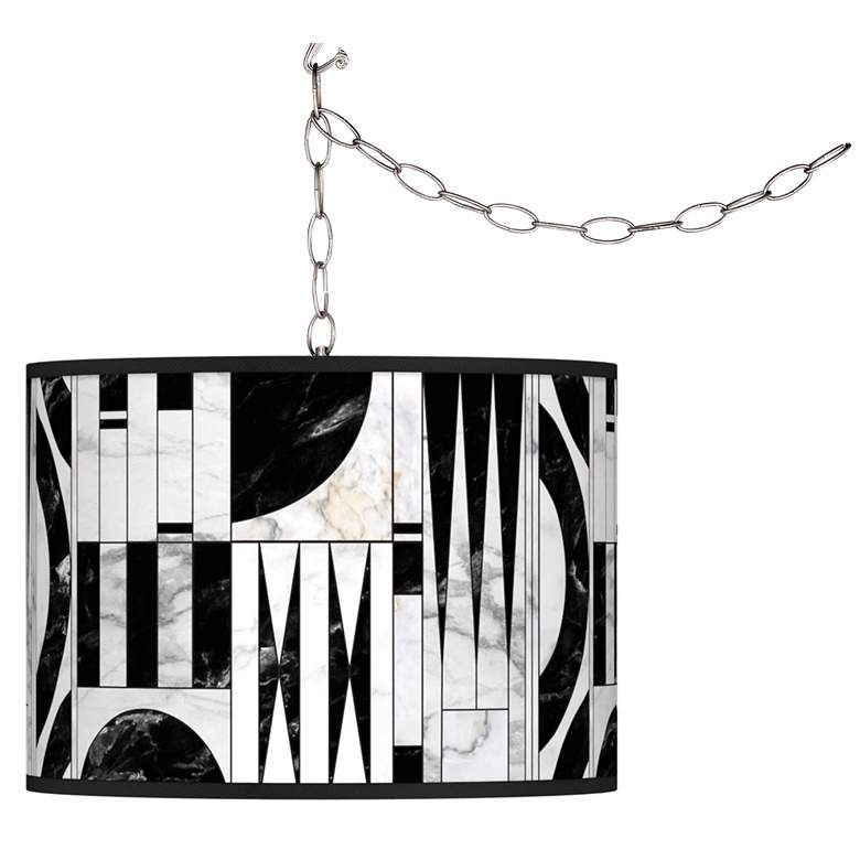 Swag Style Noir Marble Giclee Shade Plug-In Chandelier
